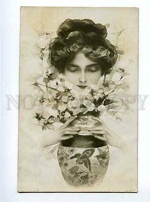 126976 BELLE w/ Flowers by Philip BOILEAU old PHOTO AWE RARE