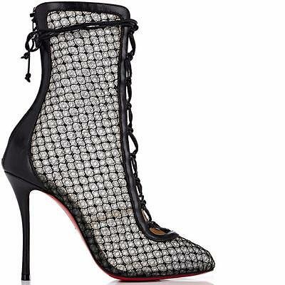 huge discount f6055 37f0f CHRISTIAN LOUBOUTIN HOTERO Fishnet Corset Lace Up Bootie Boots Heels Black  $1395