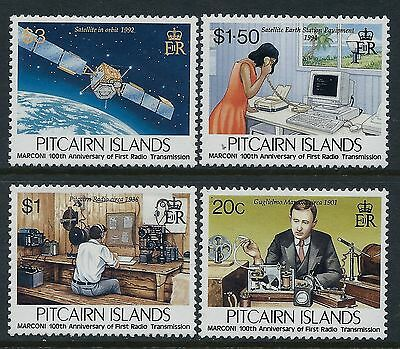 1995 PITCAIRN ISLAND RADIO TRANSMISSION 100th ANNIV SET OF 4 FINE MINT MNH/MUH