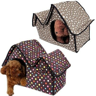 New Pet House Double Roof Dog Cat Kennel Indoor Cave Sleeping Bed Removable Mat