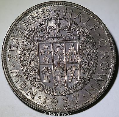 New Zealand - 1937 Half Crown King George VI - Silver Coin EF