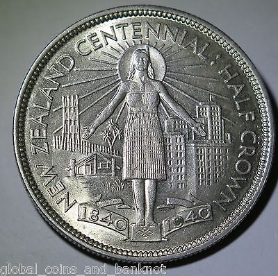 New Zealand - 1940 Half Crown King George VI - Silver Coin