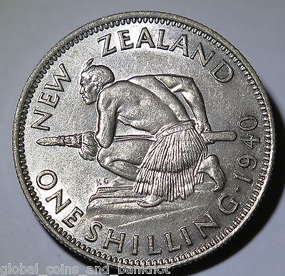 New Zealand - 1940 Shilling King George VI - Silver Coin a.UNC