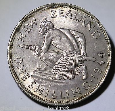 New Zealand - 1944 1 Shilling King George VI - Silver Coin UNC