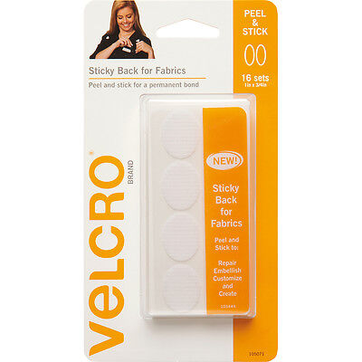 """""""VELCRO(R) Brand STICKY BACK For Fabric Ovals 1""""""""X.75""""""""-White, 91902"""""""