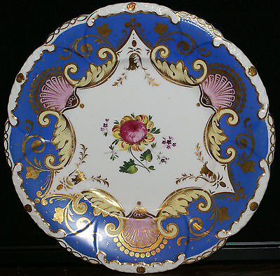 4 Rockingham or Ridgway Floral Painted Blue Cabinet Plates * 1820-1840
