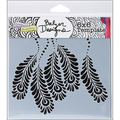 CRAFTERS WORKSHOP TCW6X6-268S Template, 6 by 6-Inch, Peacock Feathers