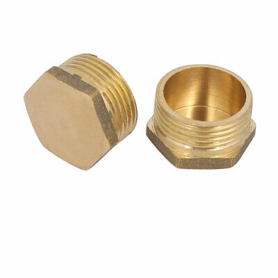 uxcell Brass Female Pipe Fitting Valve Cap 3//8 SAE Hex Head End Plug Connector 2pcs