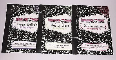 Monster High Brand Boo Students Isi Dawndancer Batsy Claro Kjersti 3 Doll Diary