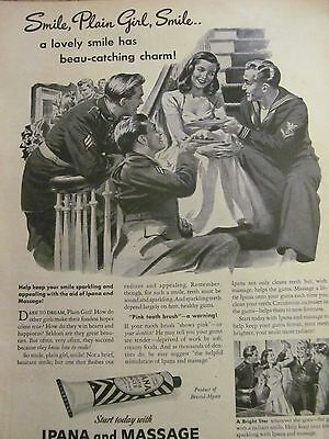 Ipana Toothpaste, Full Page Vintage Print Ad , Plain Girl, Soldiers, 1944