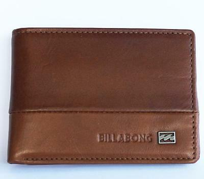 BILLABONG Mens Logo Tan Brown LEATHER Bi-Fold ID Card Wallet Zip Coin NEW