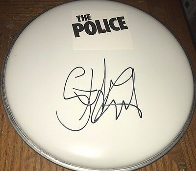 Stewart Copeland The Police Drummer Hand Signed Drumhead w/COA Proof