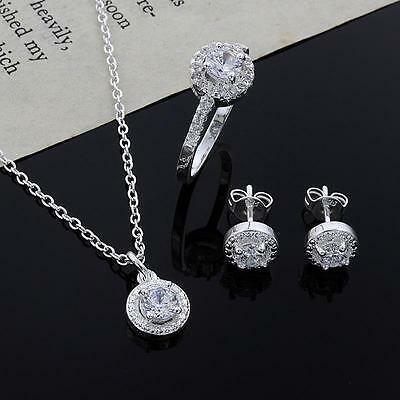 Casual Womens 925 Silver Plated Crystal Necklace Earring Ring Set Jewelry HK