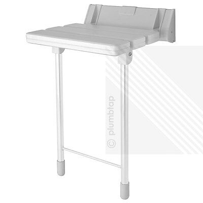 Wall Mounted Folding Shower Seat with Collapsible Legs in White (Max. 180kgs)
