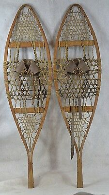 snowshoes leather bindings Canadian Huron style beaver tail old antique vintage