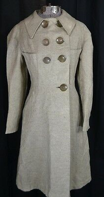 coat wool WWII gray fitted full length  womens sm wearable antique vintage 1940
