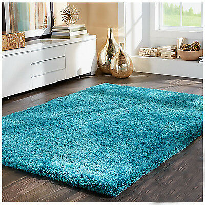 TEAL BLUE TURQUOISE Modern Shaggy Rugs Thick Plain Soft Pile Small Large XL Size