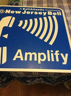 "RARE ORIGINAL Double Sided NEW JERSEY TELEPHONE SIGN ""Amplify"" Bell Atlantic Co"