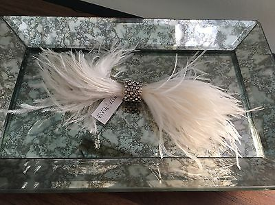 Women White Feather Fascinator Feather Hair Clip Hat Wedding Party