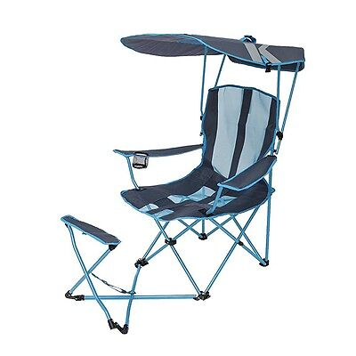 Kelsyus Original 50 UPF Canopy Shade Folding Camping Chair with Ottoman, Blue