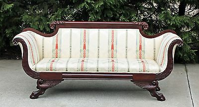 American Empire Flamed Mahogany Sofa Hairy Paw Feet Carved Eagle Returns c1840
