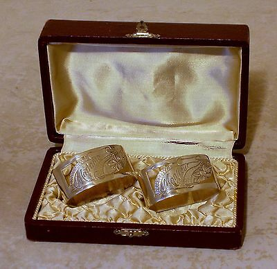 ART DECO FRENCH SILVER PLATE MADAME MONSIEUR BOXED NAPKIN RINGS c1920-40