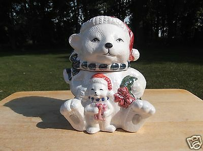 Small Iridescent Ceramic Christmas Bear Cookie or Candy Jar