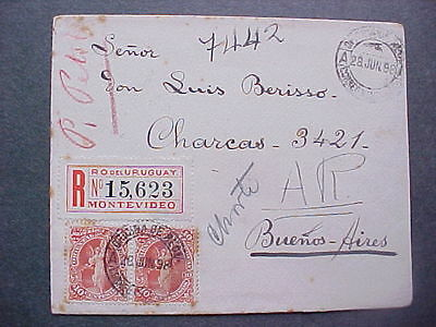 Uruguay: 1898 06/27 Registered Label Cover to Argentina