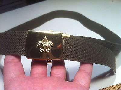 Vintage Solid Brass Boy Scout BSA Belt & Buckle 48""