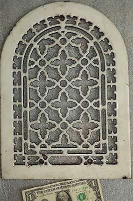 rare vtg. white porcelain & cast iron Gothic arch grate Antique heat register #1