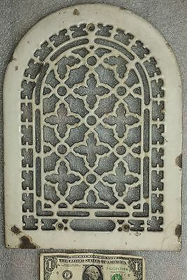 rare vtg. white porcelain & cast iron Gothic arch grate Antique heat register #2