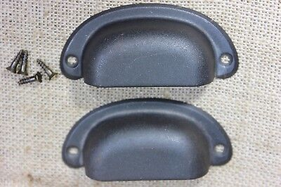 2 old drawer Pulls door handles vintage gun metal gray antique black tin 3 1/2""