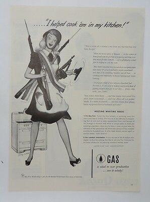 Original Print Ad 1943 GAS Vintage Artwork Wartime Needs Liberated Housewife