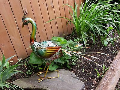 Peacock Figurine Metal 24 in.New Gift Home Decor Garden Yard Ornament Multi-col