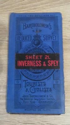 "c1920 ""BARTHOLOMEW'S MAP OF INVERNESS & SPEY SHEET 21"" 1/2 INCH TO ONE MILE"
