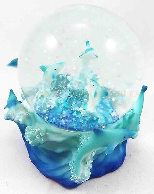 Blue Aqua Dolphins Family Gliding The Waves Water Snow Globe Figurine Collectibl
