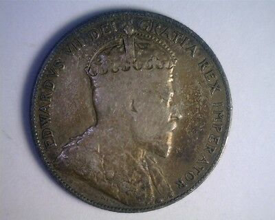 Canada 1906 Edward VII Silver Fifty Cent - VG-FINE; never cleaned