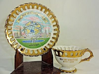 1964 NEW YORK WORLDS FAIR 1965  SMALL TEA CUP & SAUCER GOLD LATTICE Unisphere