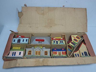 8 Vintage Made In Japan Composition Railroad Train Buildings ~ Can Be Lit!