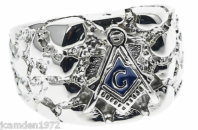 Masonic Nugget Men's Ring High Polish Stainless Steel Size 13