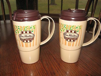 LOT of 2 TIM HORTONS FOREST TREES TRAVEL INSULATED COFFEE MUG  2012 Edit