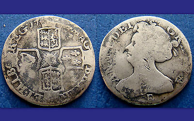 Superb Anna Milled Silver sixpence 1708 ? E
