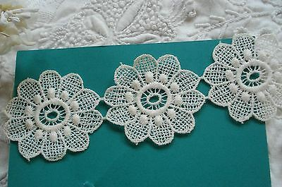 Vintage Floral Flower Venise Schiffli Applique Ribbon Lace Trim French Bebe Doll