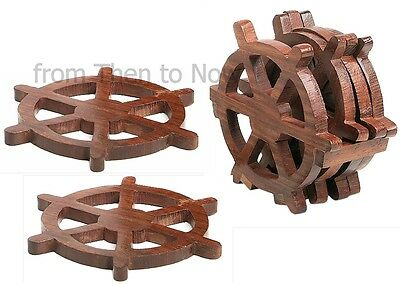 Nautical Set of 4 Wooden Ships Wheel Drinks Coasters In Holder Boat Beach Sea