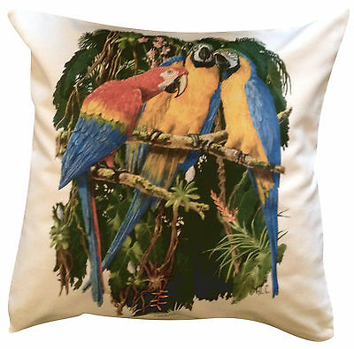 Macaw Parrot | 100% Cotton Cushion Cover & Zip | Howard Robinson | Perfect Gift