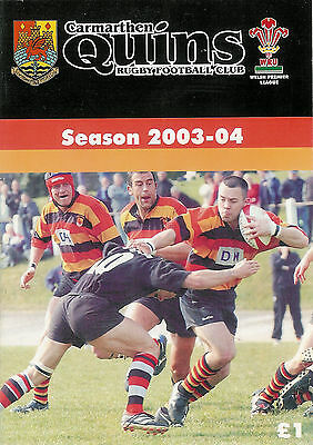 Carmarthen Quins v Cardiff 27 Sep 2003 RUGBY PROGRAMME