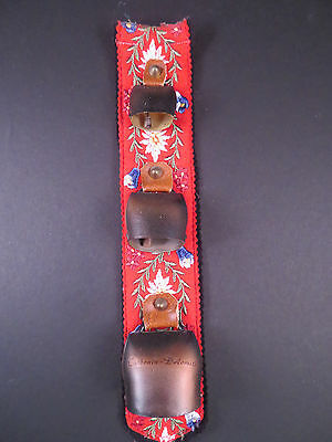 german Tyrol Bells - Carbonin-Dolomiti - Red Embroidered with 3 Bells -11 inches