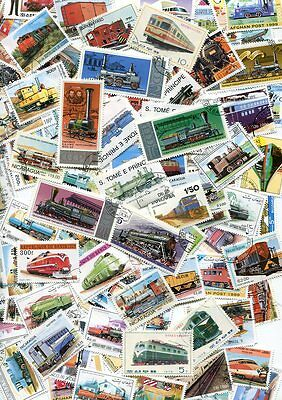 Excellent Collection Of 200 Different Train And Railroad Stamps! No Duplicates