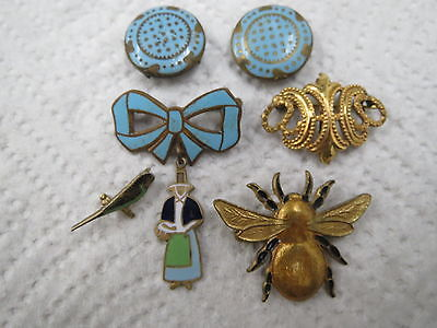 Collection Victorian 1880 Brooches & Buttons Turquoise Enamel Gold Filled