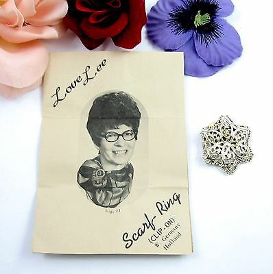 LOVE LEE SCARF RING Vintage Flower Clip w/ INSTRUCTIONS Sheet W. Germany Holland